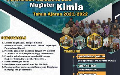 Penerimaan Mahasiswa Baru Magister Kimia Universitas Diponegoro Tahun Ajaran 2021/2022